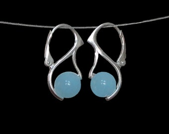 Aquamarine Sterling Silver Leverback Bail Style Earrings