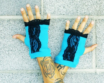 SALE - Lace Hand-Warmers Fingerless Gloves -- Blue White and Black Eco Upcycled steampunk seapunk