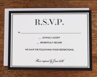 Printable RSVP Card - Classic Black and White - Black and White RSVP PDF Template - Instant download elegant black and white rsvp card