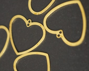 Simple Line Solid Raw Brass Heart Charms Pendants 22mm x18mm - 12 pcs