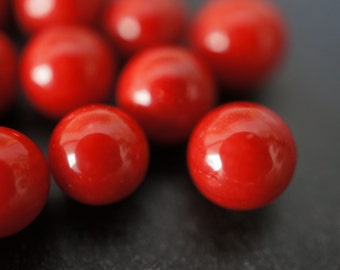 Natural Genuine Rich Fire Red Round Coral Half Drilled Beads for Earrings - 8mm - 2 pcs or 1 pairs