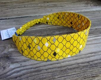 SALE Fabric Headband with Elastic: Yellow, Black and Gray