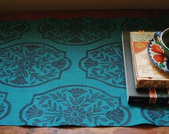 home decor chinoiserie hand block printed ink black on teal linen decorative table runner