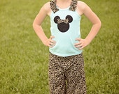 Minnie mouse inspired ruffle tank top and shorts sizes 4-8