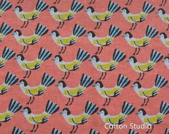 Hokkoh Tweet Tweet Kawaii Bird Japanese Fabric Peach Lightweight Canvas Fat Quarter
