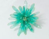 Resin Flower Kanzashi, Floral Hair Accessory, Hair Stick, Gold and Turquoise, Japanese Geisha, Turquoise Blue Green