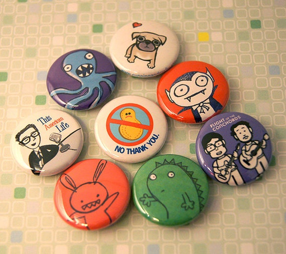 Your Choice - 4 Graphic buttons - Pins or Magnets