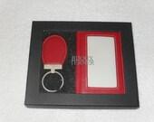 Vintage 80s Bijoux Terner Wallet and Key Chain / Key Ring in original box, genuine leather