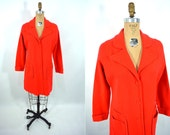 1960s coat vintage 60s red button down mod knit sweater coat L