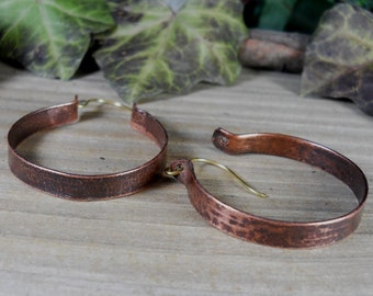 Solid copper hoop earrings, handmade hoop earrings, handmadejewelry,copper earrings, copper hoops
