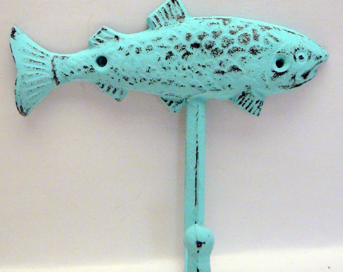 Fish Cast Iron Wall Hook Blue Cottage Chic Shabby Chic Beach Nautical Home Decor