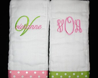 Pink and Lime Green - Custom Personalized Initial and Name, and 3 Initial Monogram BURP CLOTHS Set