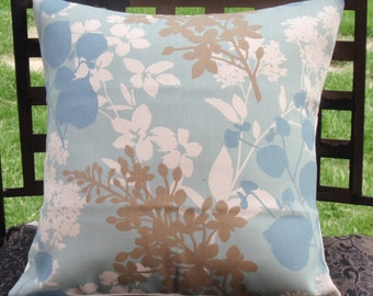 """Throw Pillow Cover, Outdoor Pillow Cover, Accent Pillow, Decorative Cushion, Blue Floral Silhouette Pillow, Solarium Fabric, 16"""" Square"""