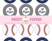 "INSTANT DOWNLOAD Baseball Birthday Printable Cupcake Topper - by Sweet Papers, Baseball Slugger Navy Gray Pinstripe Party Circle 2"" Digital"