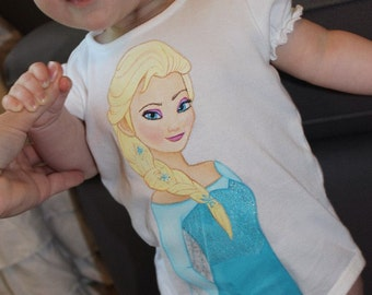 Custom Disney  clothing INFANT Painted Frozen Princess shirt onsie snap bottom size Newborn to 12m,18m
