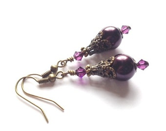 Victorian, Steampunk, Glass Pearl Earrings, Crystal Swarovski, Eggplant Pearl, Amethyst, Bridesmaid Earrings, Antique Brass, Perfect Gift