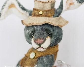 SAMPLE OOAK Artist Teddy Bunny White Rabbit 11 inch Alice in Wonderland