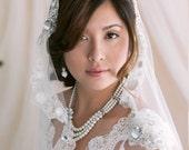 Mantilla Bridal Wedding Veil With Embroidered Rhinestone Applique Edge