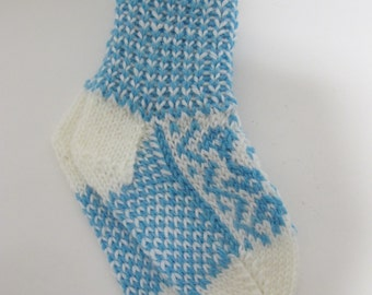 Handknitted norwegian socks in white and tourquise for children
