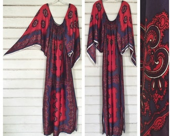 VINTAGE 70s SCARF gypsy dress maxi angel sleeve