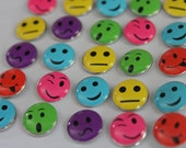 50 smiley face thumb tacks emoji metal push pins