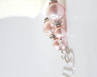Swarovski Rose Pink Pearl Dangle Earrings, Pink Wedding Jewelry, Bridesmaid Gift, Sterling Silver Hooks, Pink Pearl Earrings