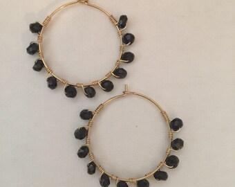 Black Spinel Hoop Earrings