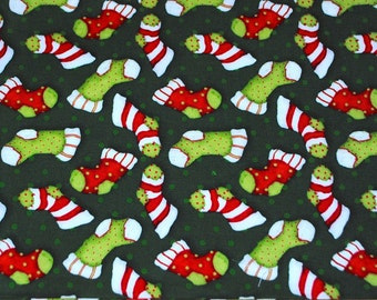 Fat Quarter Winter Stockings / Socks Christmas Colors on  Green Dotted Background Fabric