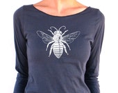Womens Long Sleeve Tshirt - Bee design  - American Apparel - 3/4 Sleeves - Boat Neck - small, medium, large, xl
