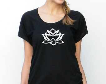 Womens Short Sleeve Top - Floating Lotus Design - Bella Flow Jersey Top -  Small, Medium, Large, xl, 2xl