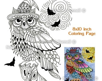 Halloween Trick Or Treat Owl With Full Moon And Bats Fairy Tangles Printable Adult Coloring