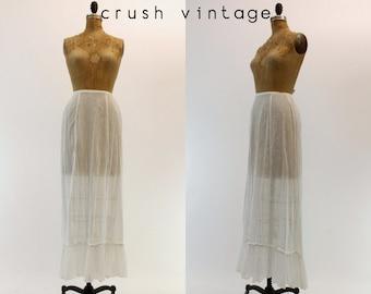 Vintage Edwardian Skirt XS / 1910 Antique Lawn Skirt / Cenci alla Fiorentina Maxi Skirt
