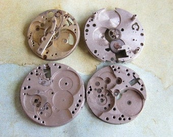 Vintage pocket Watch movement parts - Pocket watch plates Steampunk - Scrapbooking B3