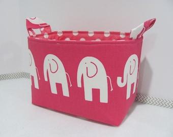 LARGE Fabric Basket - Organizer Bin - Nursery Decor - Storage Bucket - Storage Basket - Diaper Holder - Toy Bin - Kids Room - Pink Elephants