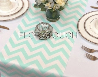 Mint Chevron Table Runner Mint and White Zigzag Wedding Table Runner
