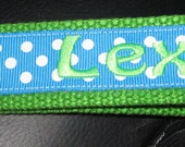 Personalized Wristlet Key Fob- Polka Dots- Assorted Colors