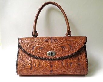 vintage Large Sienna Brown Hand Tooled Leather Handbag