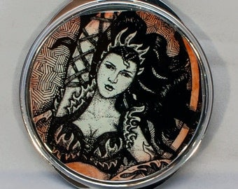 Fire Gypsy Illustrated Compact Mirror