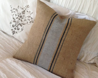 French Grain Sack style  Burlap Blue and Silver Stripe Pillow   Farmhouse/Rustic/Cottage Chic