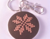 SALE! Folk Snowflake stitched key chain