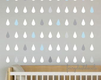 Raindrop wall decals, set of 100 rain drops, vinyl wall decals, teardrop decals, wall sticker, baby bedroom, vinyl art, raindrop wall decals