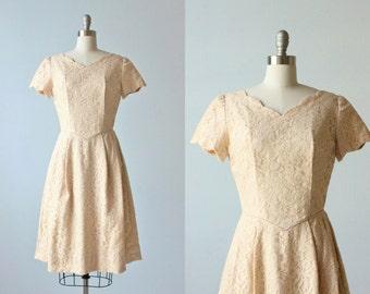1960s Vintage Dresses / Lace Dress / Formal Dress / Blush Pink Lace / Pink Heather