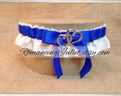 Skirted Satin Bridal Garter Two Hearts Accents....You Choose The Colors..Shown royal blue/ivory
