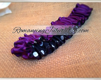 The Original Fully Reversible Bridal Garter..You Choose The Colors..shown in eggplant/black white polka dots