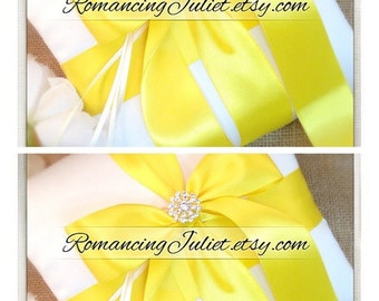 Romantic Satin Elite Ring Bearer Pillow...You Choose the Colors...SET OF 2...shown in ivory/bright yellow
