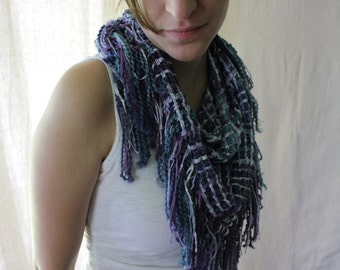Handwoven Triangle Scarf, Winter Shadows, Cowl, Shawl, Wrap, Woven