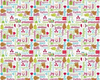 SUMMER SALE - Santa Express - Greetings in Multi - Sku C4722 - 1 Yard - by Cynthia Sandoval for Riley Blake Designs