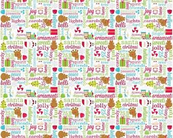 SPRING SALE - Santa Express - Greetings in Multi - Sku C4722 - 1 Yard - by Cynthia Sandoval for Riley Blake Designs
