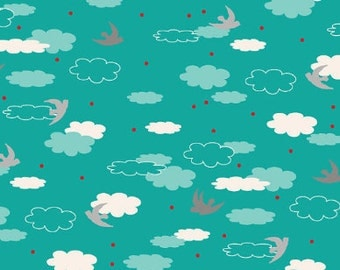 1 HALF YARD Clouds in teal, Anthology fabrics