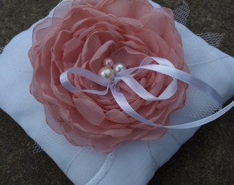 White Wedding Pillow With Dusty Pink Colored Flower - Ring Bearer Pillow - Wedding Ring Pillow